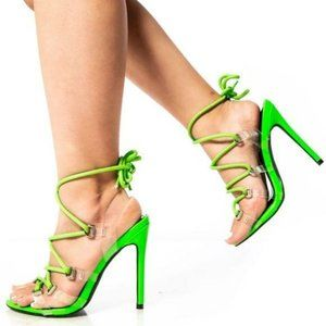 Lace Up Stiletto Heels in Neon Green